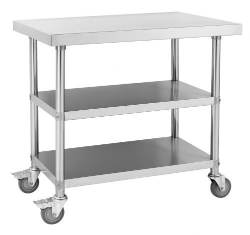 Mobile Work Bench With 2 Under Shelves